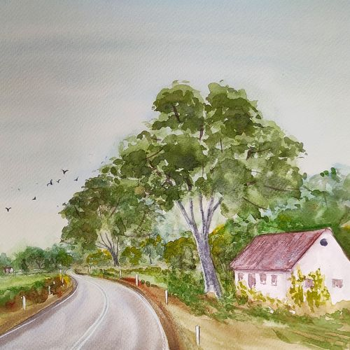landscape, 16 x 12 inch, ram mohan e,16x12inch,brustro watercolor paper,paintings,cityscape paintings,landscape paintings,nature paintings | scenery paintings,impressionist paintings,paintings for dining room,paintings for living room,paintings for bedroom,paintings for office,paintings for kids room,paintings for hotel,paintings for school,watercolor,GAL069745665