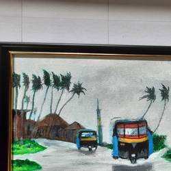 konkan monsoon concept -(1) auto rikshaw, 11 x 9 inch, prafulla  vanmali ,11x9inch,canvas,paintings,nature paintings | scenery paintings,paintings for dining room,paintings for living room,paintings for bedroom,paintings for hotel,paintings for school,paintings for hospital,acrylic color,GAL03084745666