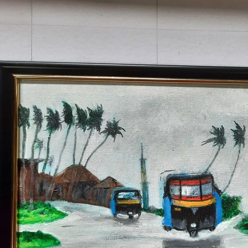 konkan monsoon concept -(1) auto rikshaw, 11 x 9 inch, prafulla  vanmali ,11x9inch,canvas,paintings,nature paintings   scenery paintings,paintings for dining room,paintings for living room,paintings for bedroom,paintings for hotel,paintings for school,paintings for hospital,acrylic color,GAL03084745666
