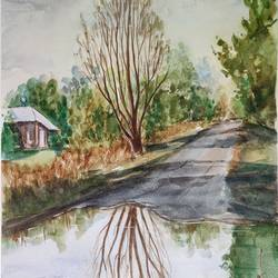 landscape, 12 x 16 inch, ram mohan e,12x16inch,brustro watercolor paper,paintings,cityscape paintings,landscape paintings,nature paintings | scenery paintings,impressionist paintings,paintings for dining room,paintings for living room,paintings for office,paintings for kids room,paintings for hotel,paintings for school,watercolor,GAL069745667