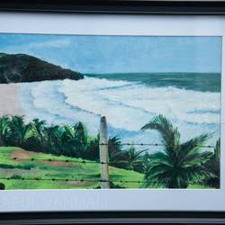 beautiful seashore & compound, 19 x 15 inch, prafulla  vanmali ,19x15inch,hardboard,paintings,nature paintings | scenery paintings,paintings for dining room,paintings for living room,paintings for bedroom,paintings for office,paintings for hotel,paintings for hospital,acrylic color,GAL03084745680