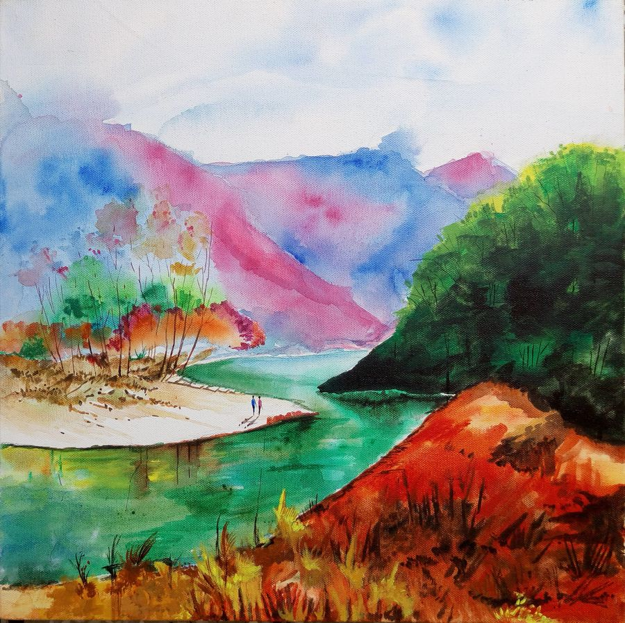 the clear waters, 18 x 18 inch, surya vamshi,landscape paintings,paintings for living room,canvas,acrylic color,18x18inch,GAL0235457