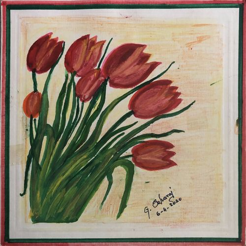 flowers, 9 x 9 inch, selvaraj g,9x9inch,thick paper,flower paintings,paintings for living room,paintings for office,paintings for kids room,paintings for living room,paintings for office,paintings for kids room,acrylic color,pen color,pencil color,GAL03230145714