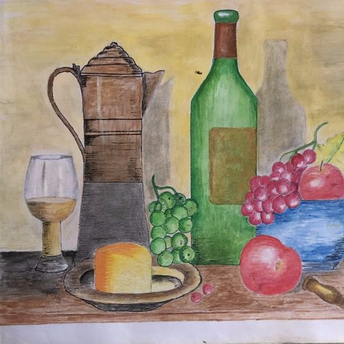 home bar table top view, 11 x 9 inch, selvaraj g,11x9inch,hardboard,paintings,illustration paintings,paintings for living room,paintings for office,paintings for kitchen,acrylic color,pen color,pencil color,paper,GAL03230145718