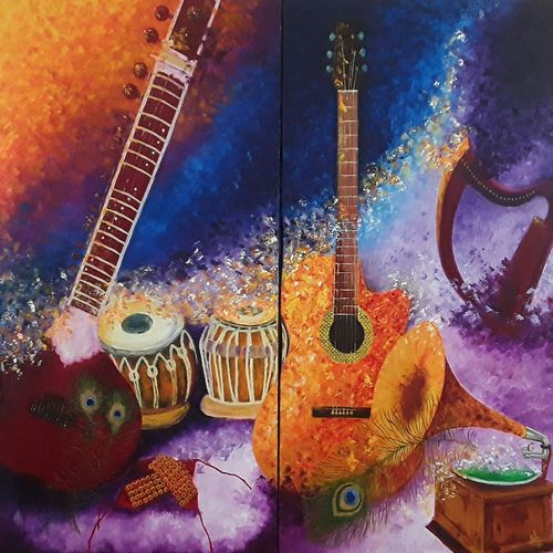symphonious, 48 x 44 inch, shilpi singh patel,multi piece paintings,paintings for living room,paintings,still life paintings,impressionist paintings,canvas,oil,48x44inch,GAL04554572