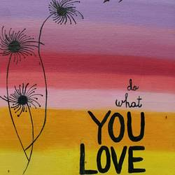 do what you love, 14 x 18 inch, vandana singh,art deco paintings,paintings for living room,canvas board,oil paint,14x18inch,GAL012884573