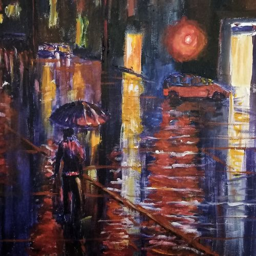 nocturnal city lights, 20 x 24 inch, aswin s,20x24inch,canvas board,cityscape paintings,acrylic color,GAL03293545731