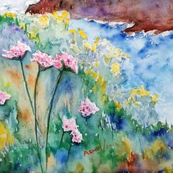 coastal flora, 16 x 20 inch, aswin s,16x20inch,arches paper,paintings,landscape paintings,watercolor,GAL03293545732