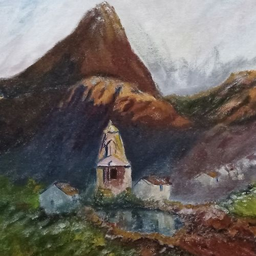 kedarnath imagined, 24 x 18 inch, aswin s,24x18inch,canvas board,paintings,landscape paintings,acrylic color,poster color,GAL03293545734
