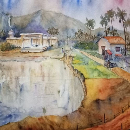 bucolic, 20 x 16 inch, aswin s,20x16inch,arches paper,paintings,landscape paintings,watercolor,GAL03293545735