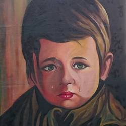 the crying boy, 22 x 34 inch, vandana singh,portrait paintings,paintings for living room,canvas,oil paint,22x34inch,GAL012884574
