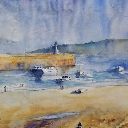 boats off the coast, 20 x 16 inch, aswin s,20x16inch,arches paper,paintings,landscape paintings,nature paintings | scenery paintings,watercolor,GAL03293545755