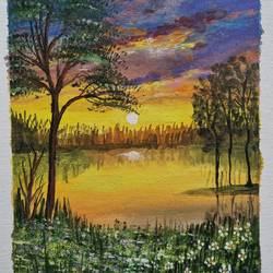 small scenic painting, 10 x 12 inch, prathika jayaram,10x12inch,canvas board,paintings,nature paintings   scenery paintings,paintings for dining room,paintings for living room,paintings for bedroom,paintings for office,watercolor,GAL03294445757