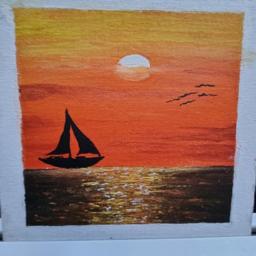 sunset, 8 x 10 inch, prathika jayaram,8x10inch,canvas board,paintings,nature paintings   scenery paintings,paintings for dining room,paintings for living room,paintings for bedroom,paintings for office,paintings for hotel,watercolor,GAL03294445759