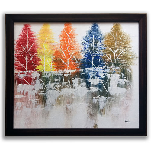 reflection tree, 22 x 20 inch, jhini patro p,22x20inch,canvas,paintings,landscape paintings,paintings for living room,acrylic color,GAL03251745765