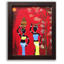 tribal women, 14 x 16 inch, jhini patro p,14x16inch,canvas,paintings,folk art paintings,paintings for dining room,paintings for living room,paintings for office,acrylic color,GAL03251745768