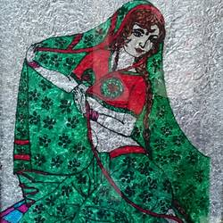 folk lady, 13 x 18 inch, vandana singh,folk art paintings,paintings for office,acrylic glass,pen color,13x18inch,GAL012884577