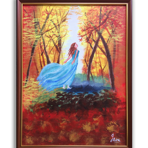 nature painting in spring season, 13 x 17 inch, jhini patro p,13x17inch,canvas board,paintings,nature paintings   scenery paintings,paintings for dining room,paintings for living room,paintings for bedroom,paintings for hotel,acrylic color,GAL03251745770