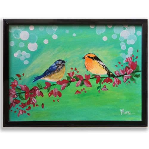 bird painting, 16 x 12 inch, jhini patro p,16x12inch,canvas board,paintings,wildlife paintings,nature paintings | scenery paintings,animal paintings,realistic paintings,paintings for dining room,paintings for living room,paintings for bedroom,paintings for kids room,acrylic color,GAL03251745772