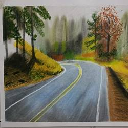 beautiful roadscape, 16 x 11 inch, aditya bansal,16x11inch,ivory sheet,landscape paintings,nature paintings | scenery paintings,paintings for living room,paintings for bedroom,paintings for hotel,paintings for living room,paintings for bedroom,paintings for hotel,oil color,pastel color,graphite pencil,paper,GAL02173245773