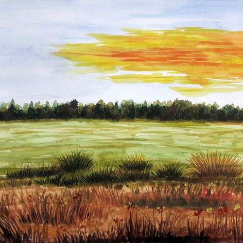 field, 12 x 16 inch, anil chaurasiya,12x16inch,paper,paintings,landscape paintings,nature paintings   scenery paintings,art deco paintings,contemporary paintings,paintings for dining room,paintings for living room,paintings for bedroom,paintings for office,paintings for bathroom,paintings for kids room,paintings for hotel,paintings for kitchen,paintings for school,paintings for hospital,poster color,watercolor,GAL0666645783
