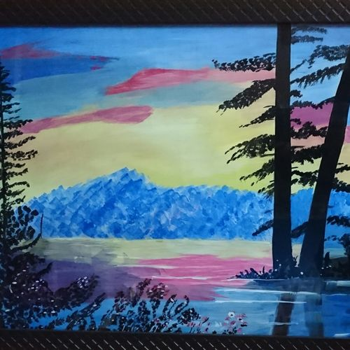lake side scenery, 22 x 15 inch, vandana singh,landscape paintings,paintings for living room,thick paper,watercolor,22x15inch,GAL012884579