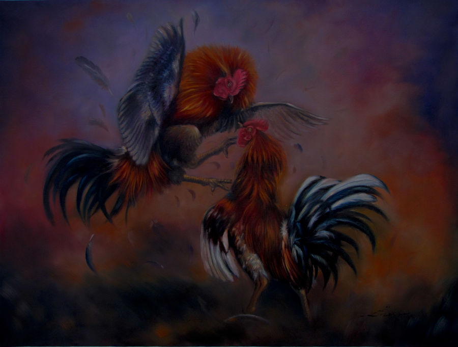rooster fight, 33 x 25 inch, dinak divakaran,figurative paintings,paintings for living room,canvas,oil,33x25inch,GAL0229458