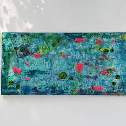lily pond horizontal, 24 x 48 inch, aastha khanna,24x48inch,wood board,paintings,abstract paintings,mixed media,GAL03280745801