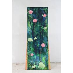 lilies vertical, 24 x 72 inch, aastha khanna,24x72inch,canvas,paintings,abstract paintings,mixed media,GAL03280745804
