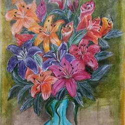 beauty of lilies, 14 x 18 inch, paramita goswami,14x18inch,canvas,paintings,flower paintings,paintings for living room,paintings for bedroom,paintings for office,paintings for hotel,acrylic color,GAL03271845813