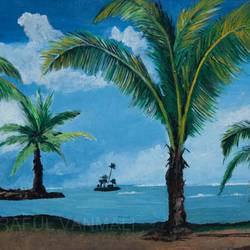 seashore with coconut tress, 21 x 15 inch, prafulla  vanmali ,21x15inch,hardboard,paintings,nature paintings | scenery paintings,paintings for dining room,paintings for living room,paintings for bedroom,paintings for office,paintings for hotel,paintings for school,paintings for hospital,acrylic color,GAL03084745818