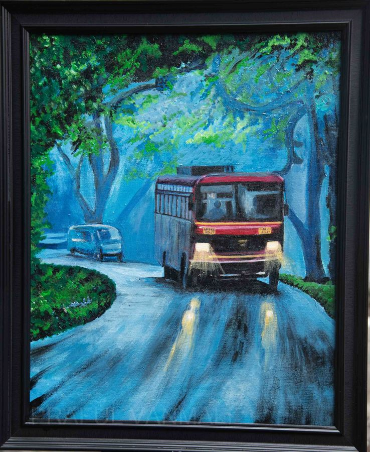 Bus travelling in the heavy monsoon in the evening