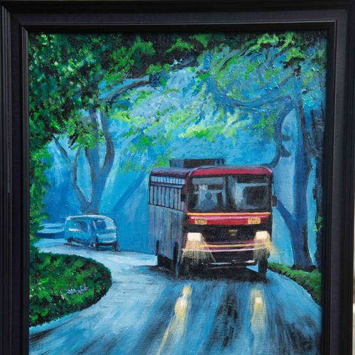 bus travelling in the heavy monsoon in the evening, 19 x 23 inch, prafulla  vanmali ,19x23inch,canvas,paintings,nature paintings   scenery paintings,paintings for dining room,paintings for living room,paintings for bedroom,paintings for office,paintings for hotel,acrylic color,GAL03084745820