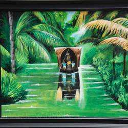 kerala houseboat , 23 x 19 inch, prafulla  vanmali ,23x19inch,canvas,paintings,nature paintings | scenery paintings,paintings for dining room,paintings for living room,paintings for bedroom,paintings for office,paintings for hotel,acrylic color,GAL03084745821