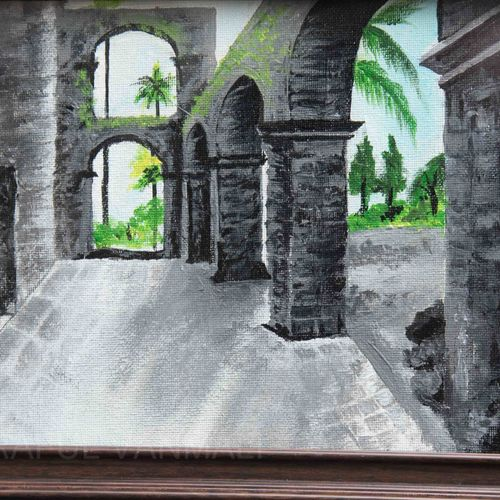 vasai fort with sun rise effects in depth, 12 x 10 inch, prafulla  vanmali ,12x10inch,canvas,paintings,realistic paintings,paintings for dining room,paintings for living room,paintings for bedroom,paintings for office,paintings for hotel,acrylic color,GAL03084745822