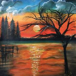 sunset , 13 x 14 inch, pragati c,13x14inch,canvas,paintings,abstract paintings,landscape paintings,nature paintings | scenery paintings,paintings for dining room,paintings for living room,paintings for bedroom,paintings for office,paintings for bathroom,paintings for hotel,paintings for kitchen,paintings for school,paintings for hospital,acrylic color,GAL02554645825