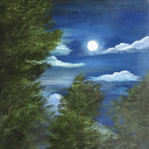 moonlit night, 16 x 20 inch, debapriya bhattacharya,16x20inch,canvas,paintings,landscape paintings,nature paintings | scenery paintings,photorealism paintings,photorealism,realistic paintings,paintings for dining room,paintings for living room,paintings for bedroom,paintings for office,paintings for bathroom,paintings for kids room,paintings for hotel,paintings for kitchen,paintings for school,paintings for hospital,oil color,GAL01491345827