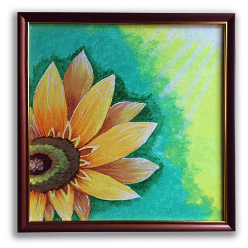 sunflower nature painting, 14 x 14 inch, jhini patro p,14x14inch,canvas board,paintings,flower paintings,nature paintings   scenery paintings,paintings for dining room,paintings for living room,paintings for bedroom,paintings for office,paintings for kids room,paintings for hotel,paintings for school,acrylic color,GAL03251745843