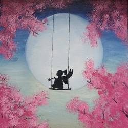 a fairy tale, 10 x 12 inch, margret devassy,10x12inch,canvas,paintings,flower paintings,landscape paintings,portrait paintings,nature paintings | scenery paintings,children paintings,kids paintings,paintings for living room,paintings for bedroom,paintings for kids room,oil color,GAL03301945846