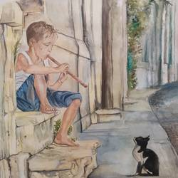 boy with the cat, 11 x 11 inch, jayati banerji,11x11inch,drawing paper,paintings,figurative paintings,portrait paintings,illustration paintings,animal paintings,children paintings,kids paintings,paintings for dining room,paintings for living room,paintings for bedroom,paintings for kids room,paintings for hotel,paintings for kitchen,paintings for school,paintings for hospital,watercolor,GAL03093645855