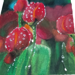 beautiful tulips painting , 6 x 10 inch, manasa  peddabomma ,6x10inch,thick paper,paintings,flower paintings,still life paintings,paintings for living room,paintings for bedroom,paintings for kids room,paintings for kitchen,paintings for school,pastel color,paper,GAL03303445866