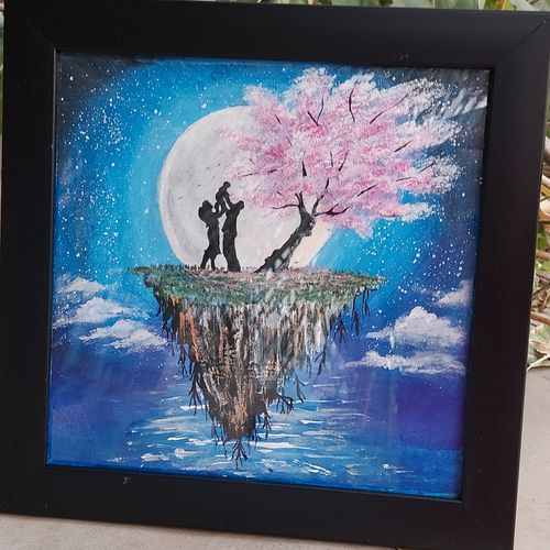 happy family infront of moon, 10 x 10 inch, manasa  peddabomma ,10x10inch,thick paper,abstract paintings,nature paintings | scenery paintings,baby paintings,paintings for living room,paintings for bedroom,paintings for kids room,paintings for living room,paintings for bedroom,paintings for kids room,acrylic color,GAL03303445868