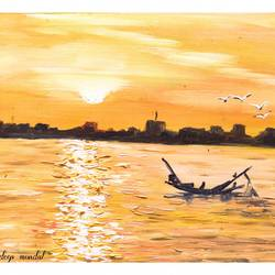 moning boat, 8 x 6 inch, shankhadeep  mondal,8x6inch,thick paper,paintings,landscape paintings,nature paintings | scenery paintings,paintings for dining room,paintings for living room,paintings for bedroom,paintings for office,paintings for bathroom,paintings for kids room,paintings for hotel,paintings for kitchen,paintings for school,paintings for hospital,oil color,GAL01403045870