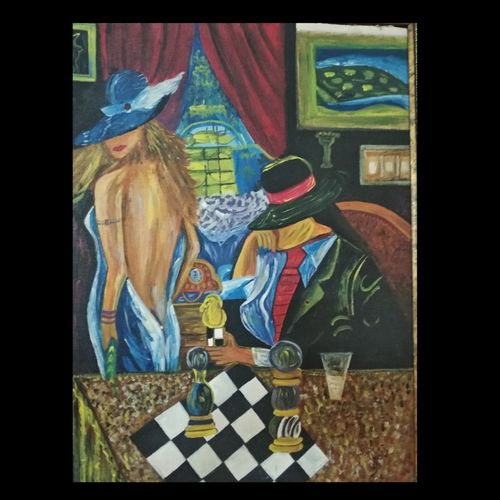 lady in casino, 18 x 24 inch, jyoti  nargotra ,18x24inch,canvas,paintings,modern art paintings,paintings for bedroom,acrylic color,GAL03304745884