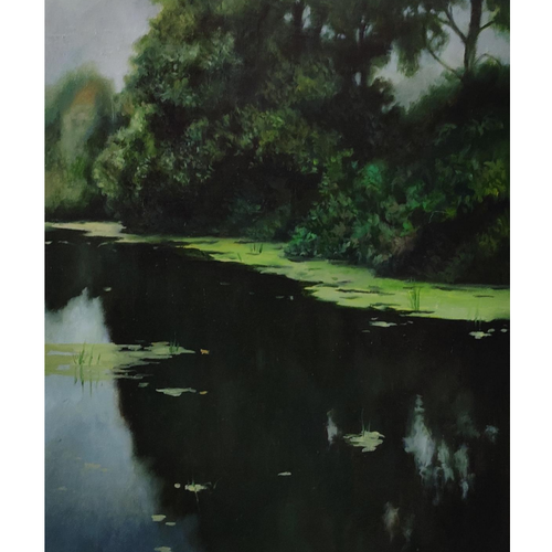 green pond, 14 x 18 inch, nilesh  nikalje,14x18inch,canvas,paintings,landscape paintings,conceptual paintings,nature paintings | scenery paintings,photorealism paintings,photorealism,realism paintings,realistic paintings,paintings for dining room,paintings for living room,paintings for bedroom,paintings for office,paintings for bathroom,paintings for kids room,paintings for hotel,paintings for kitchen,paintings for school,paintings for hospital,oil color,GAL02736845901