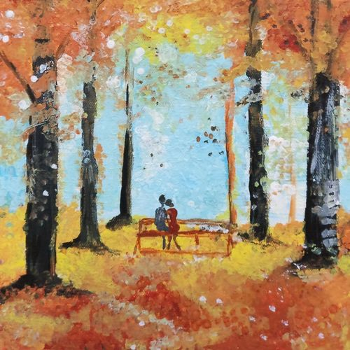 couple in love, 12 x 10 inch, reena jai sharma,12x10inch,canvas,paintings,figurative paintings,landscape paintings,nature paintings | scenery paintings,paintings for dining room,paintings for living room,paintings for bedroom,paintings for office,paintings for kids room,paintings for hotel,acrylic color,GAL02882045904