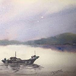 boat on a river watercolor on paper digital print, 12 x 18 inch, prasenjit mishra,12x18inch,cartridge paper,paintings,landscape paintings,photo ink,GAL03306745914
