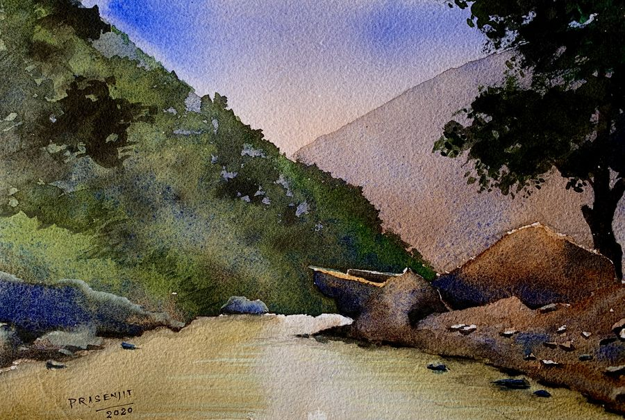 River in forest watercolor on paper digital print