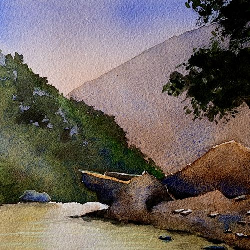 river in forest watercolor on paper digital print, 12 x 18 inch, prasenjit mishra,12x18inch,cartridge paper,paintings,landscape paintings,photo ink,GAL03306745916