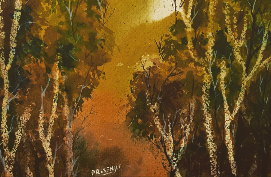 Forest watercolor on paper digital print